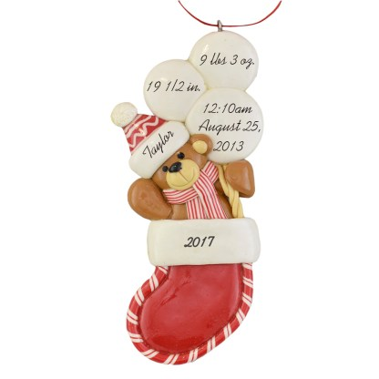 Baby Bear in Stocking First Christmas Personalized Ornaments