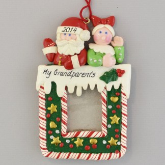 In Memory of Grandma and Grandpa personalized christmas Photo Frame Ornaments