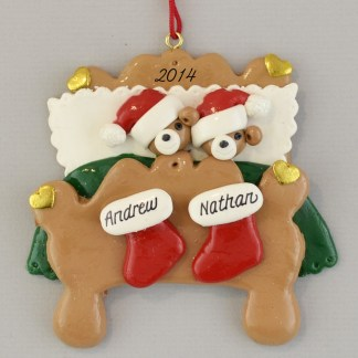 Two Bears in Bed Partners personalized Christmas Ornaments