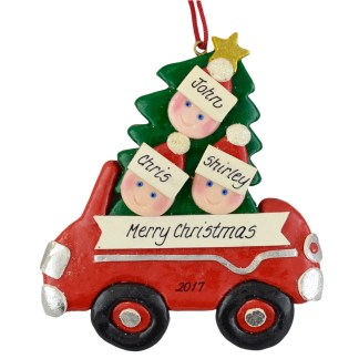 Family in Car (3) personalized christmas Ornaments