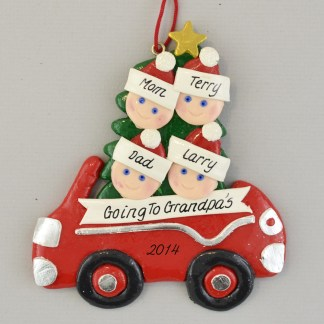 Going to Grandma and Grandpas with two Grandchildren Personalized Christmas Ornaments