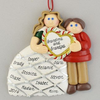 Grandparents with Heart Personalized christmas Ornaments