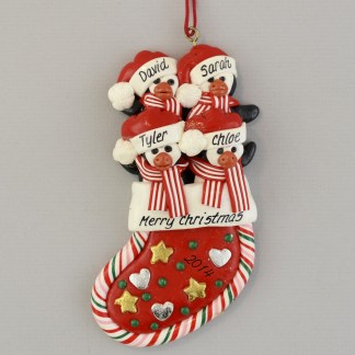 Penguins in a Stocking (4) Personalized christmas Ornaments