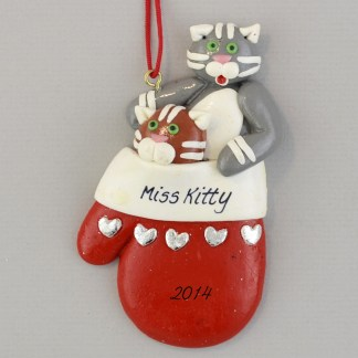 Kittens in a Mitten Personalized Christmas Ornaments