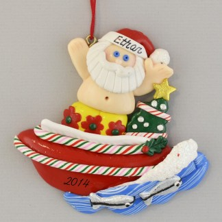 Santa in Speedboat Personalized Christmas Ornaments