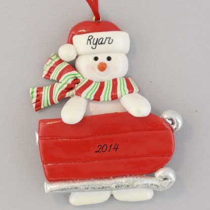 Snowman with Sled Personalized Christmas Ornaments