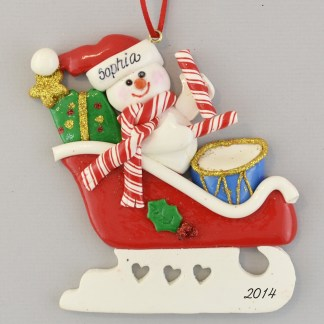 Personalized Snowman in Sleigh Christmas Ornaments