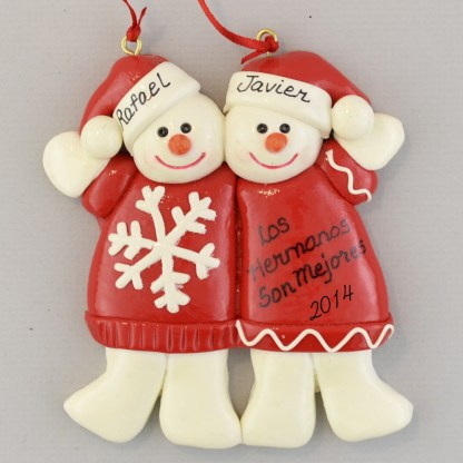 snowman Brothers Personalized Christmas Ornaments