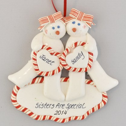 Sisters, Twins, or Friends personalized christmas Ornaments