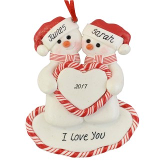 Couple's Heart personalized christmas ornaments