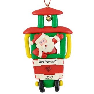 San Francisco Cable Car with santa personalized christmas ornaments