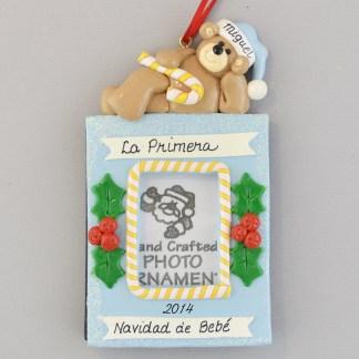 La Primera Navidad de Bebe Boy's Photo personalized Christmas Ornaments