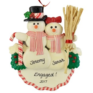 Engaged Snow Couple personalized christmas ornaments