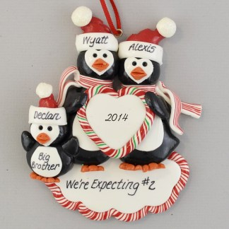Pregnant Penguin Family Expecting #2 Ornament