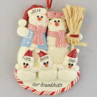 Grandma and Grandpa's Three Snowbabies Personalized christmas Ornaments