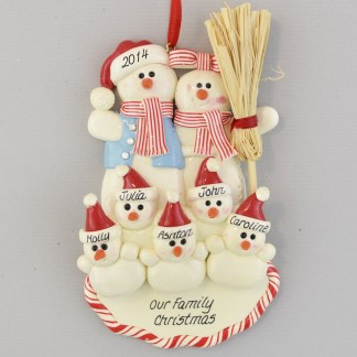 Family with Five Snowbabies Personalized Christmas Ornaments