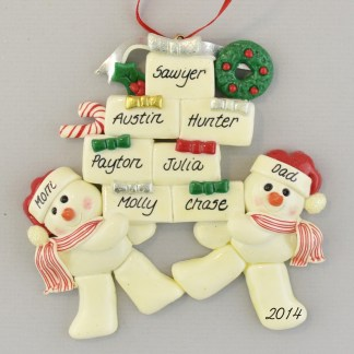 Family with Seven Children Personalized christmas Ornaments