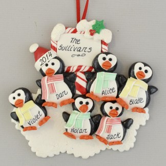 Penguins (6) Personalized Christmas Ornaments
