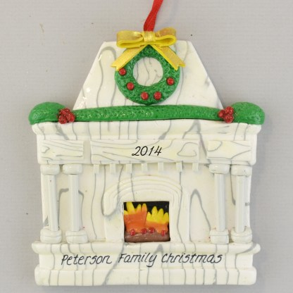 White Fireplace Personalized Christmas Ornament