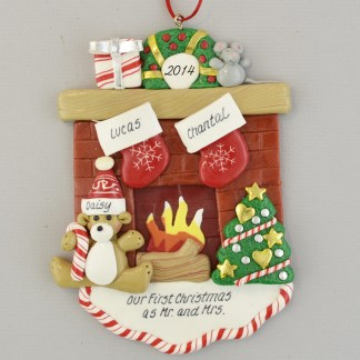 Fireplace Mantle with 2 Stockings personalized christmas Ornaments