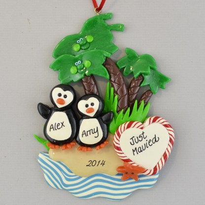 Just Married penguins under palm trees personalized christmas Ornaments