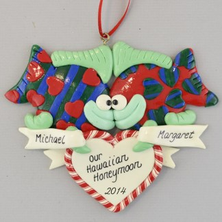 Just Married Kissing Fish personalized christmas Ornaments