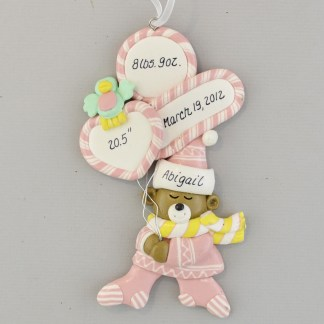 Baby Girl Birth Stats personalized Christmas Ornaments