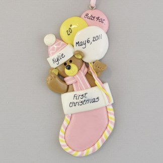 Baby Girl's First Christmas Stocking personalized Ornaments