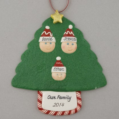 Family Tree of 3 Personalized Christmas Ornament