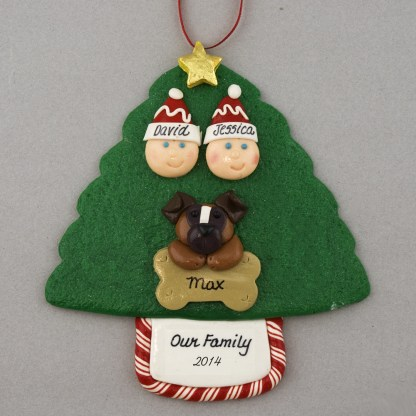 Couple with 1 Pet Personalized Christmas Ornament