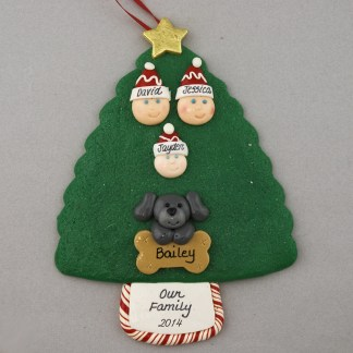 Our Family of 3 with 1 Pet Personalized Christmas Ornament