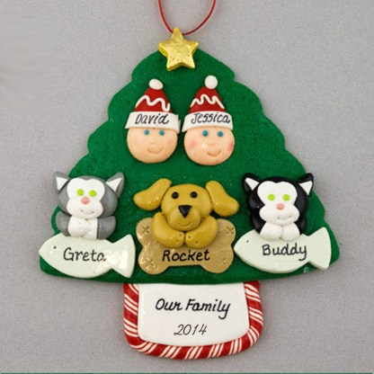 Couple with 3 Pets Personalized Christmas Ornament