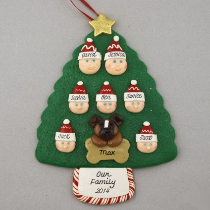 Our Family of 7 with 1 Pet Personalized Christmas Ornament