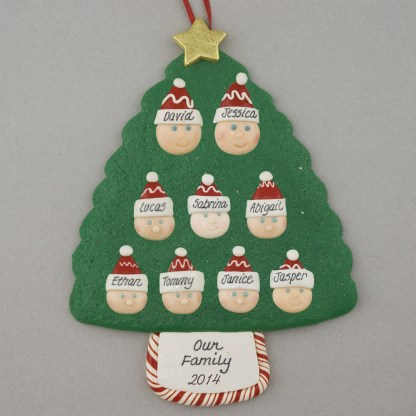 Family Tree of 9 Personalized Christmas Ornament