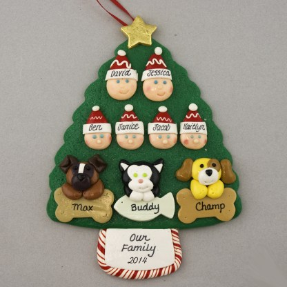 Our Family of 6 with 3 Pets Personalized Christmas Ornament