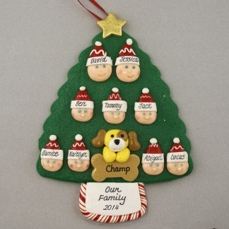 Our Family of 9 with 1 Pet Personalized Christmas Ornament