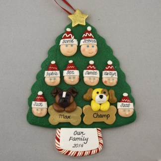 Our Family of 8 with 2 Pets Personalized Christmas Ornament