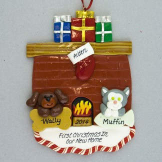Fireplace for one person with two pets personalized ornament