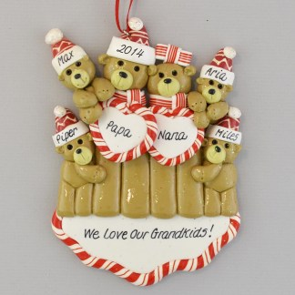 Grandparents with Four Grandchildren Personalized Christmas Ornaments
