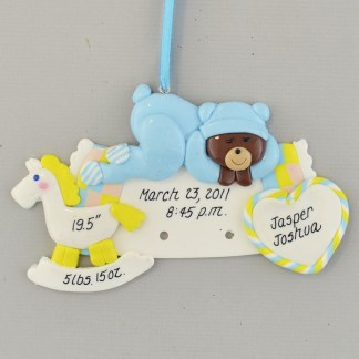 Baby Boy rocking horse and teddy bear Personalized Christmas Ornament