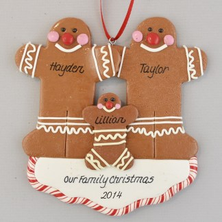 Gingerbread Family of Three Personalized christmas Ornaments