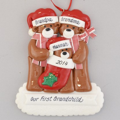 Grandpa and Grandma with Grandchild Personalized christmas Ornaments