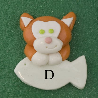 Pet cat orange with fish personalized christmas ornaments