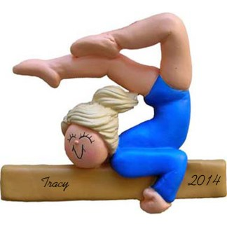 Gymnast Personalized Christmas Ornaments Female Blonde