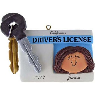Driver's License Personalized Christmas Ornaments Female Brunette