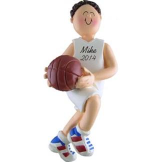 Basketball Boy Brunette Personalized Christmas Ornaments