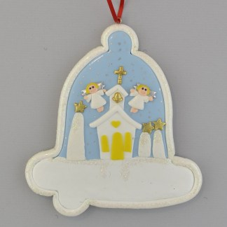 Church with Angels personalized christmas ornaments