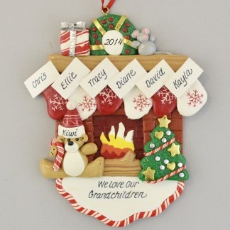 We Love Our Six Grandchildren Fireplace Personalized Christmas Ornament