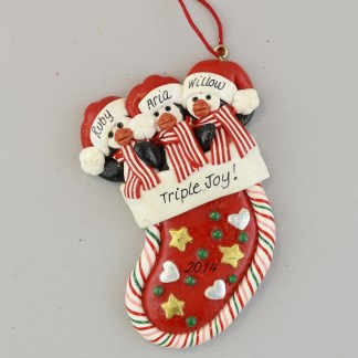 Triplet Penguins in Stocking Personalized Christmas Ornament