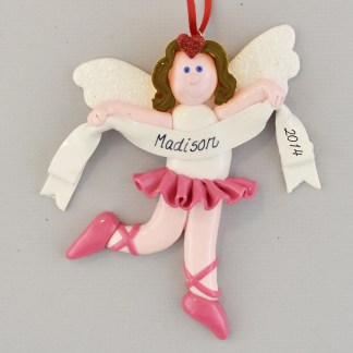 An Angel Ballerina Brunette Personalized Christmas Ornament